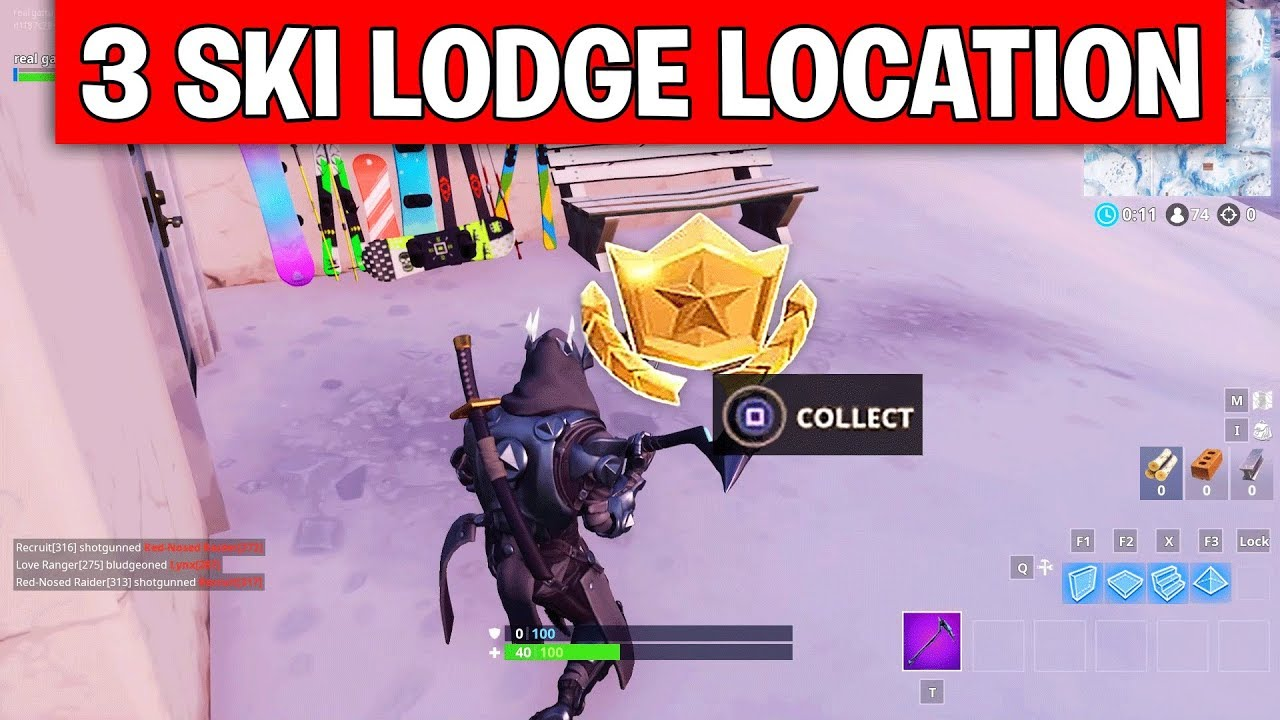 search between three ski lodges exact location week 3 challenges fortnite season 7 - where are the ski lodges in fortnite season seven