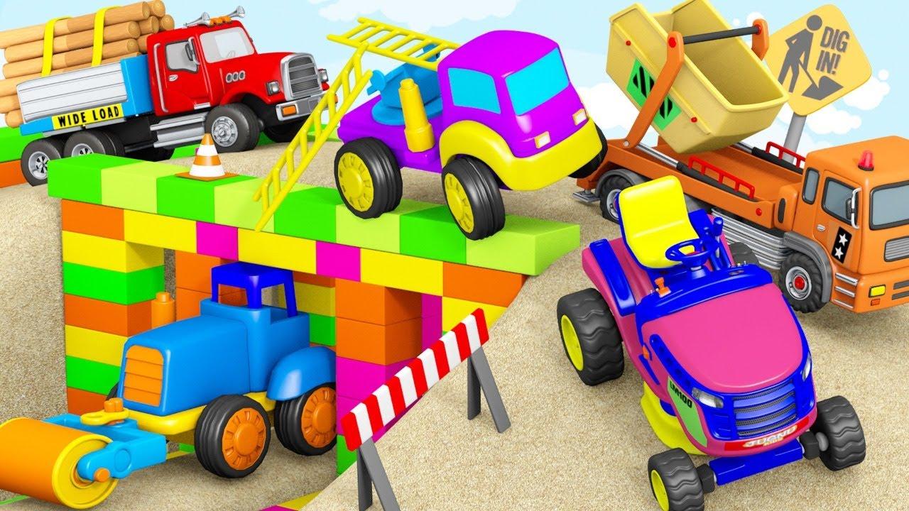 Bridge Blocks Toys Construction Vehicles Excavator, Police Cars~!  TOYS