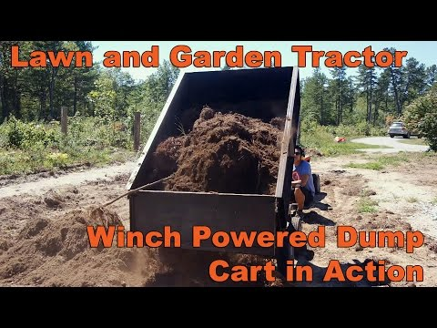 Lawn and Garden Tractor Dump Cart in Action