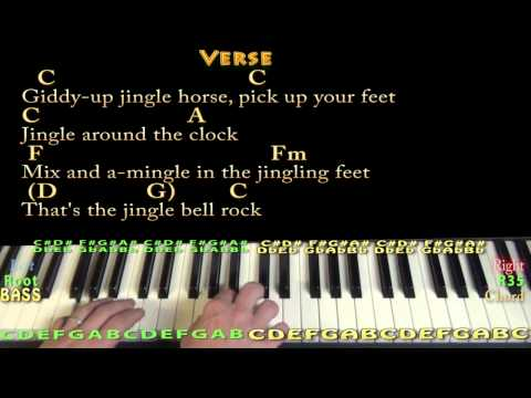 Jingle Bell Rock - Piano Cover Lesson in C with Chords/Lyrics
