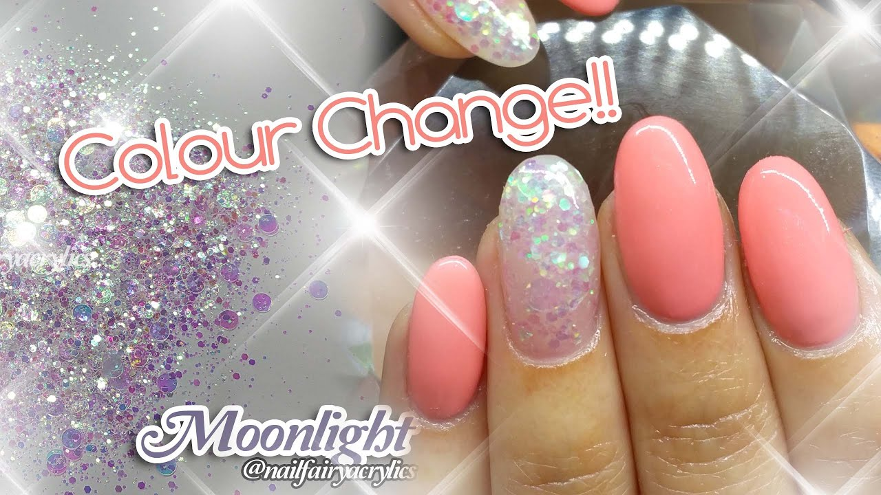 Acrylic nails design with colour change gel polish | featuring ...