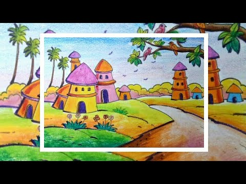 scenery drawing for Kids // easy scenery draw with oil pastel // Landscape scenery drawing