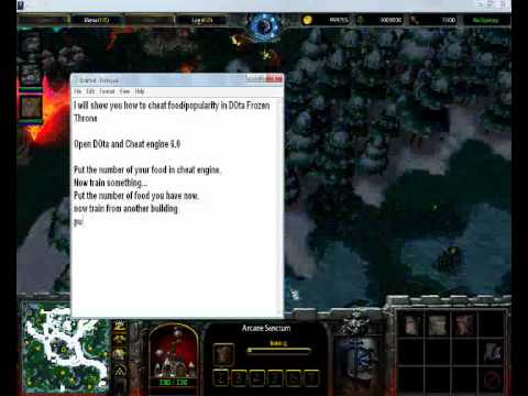 warcraft iii the frozen throne food cheat video using cheat engine