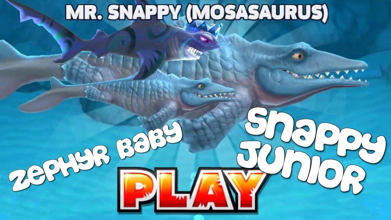 Hungry Shark Evolution - Mr. Snappy + Zephyr Baby + Snappy Junior - YouTube