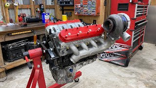 homepage tile video photo for Turbo LS Truck 1000hp engine build out. intake to oil pan