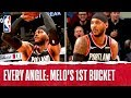 Every Angle: Melo's 1st Bucket With Portland!