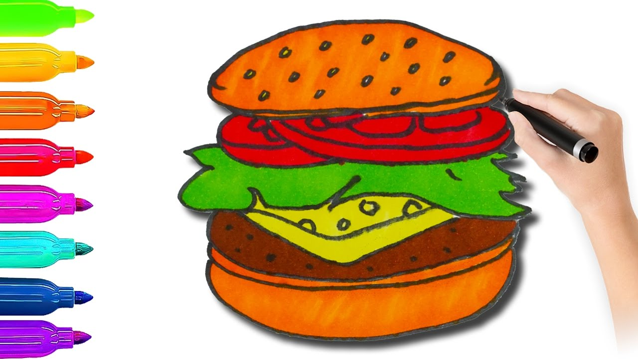 how to draw hamburger coloring pages l coloring book videos for