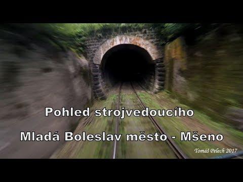 Train Driver's view / Pohled strojvedoucího MLADÁ BOLESLAV město -  MŠENO (trať 064)