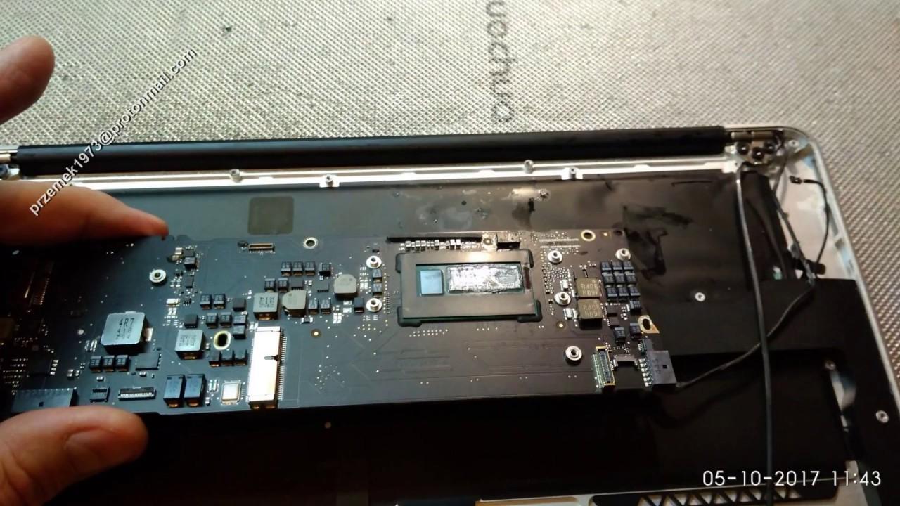 Macbook Air A1466 disassembly water keyboard battery, cooler fan clean,  wymiana, jak rozłożyć