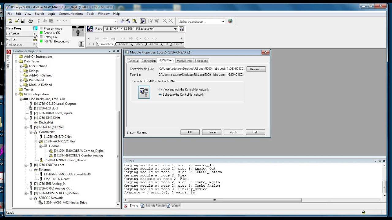 How to fix ControlNet I/O errors in RSlogix5000 - RA IA workstation