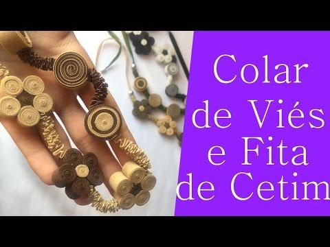 DIY: Cordão/ Colar com Viés e Fita de...