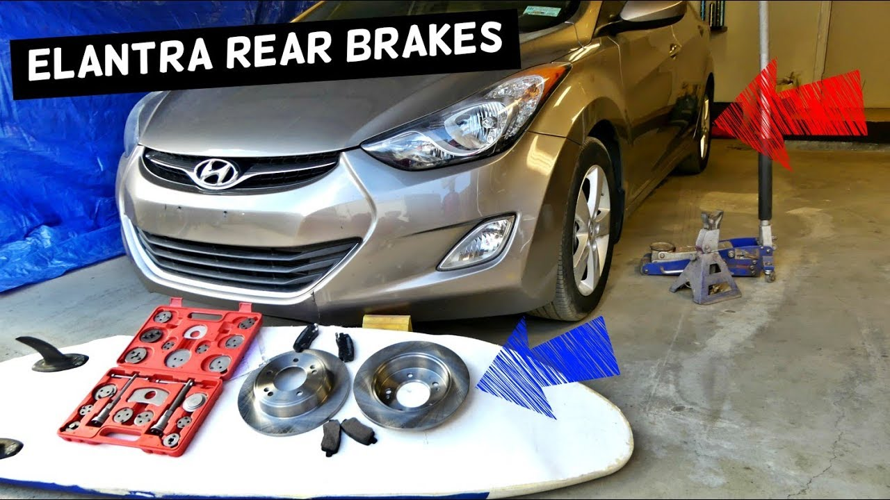 how to replace rear brake pads and disc rotor on hyundai elantra [ 1280 x 720 Pixel ]