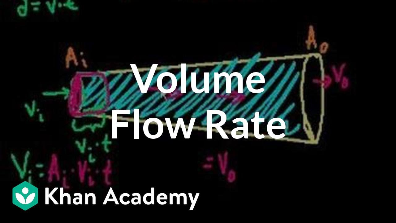 Volume flow rate and equation of continuity (video) | Khan