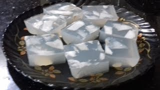 Agar agar with tender coconut/ Elaneer kadal paasi/china grass pudding with tender coconut