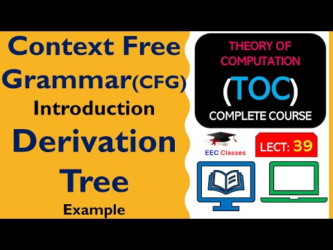 TOC Lecture 34: Context Free Grammar(CFG) Definition, Solved Example of Derivation Tree(Hindi)