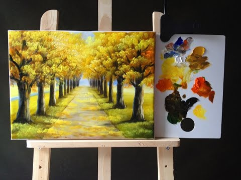 Autumn Tree Lined Road in Acrylics Tutorial  Part 1