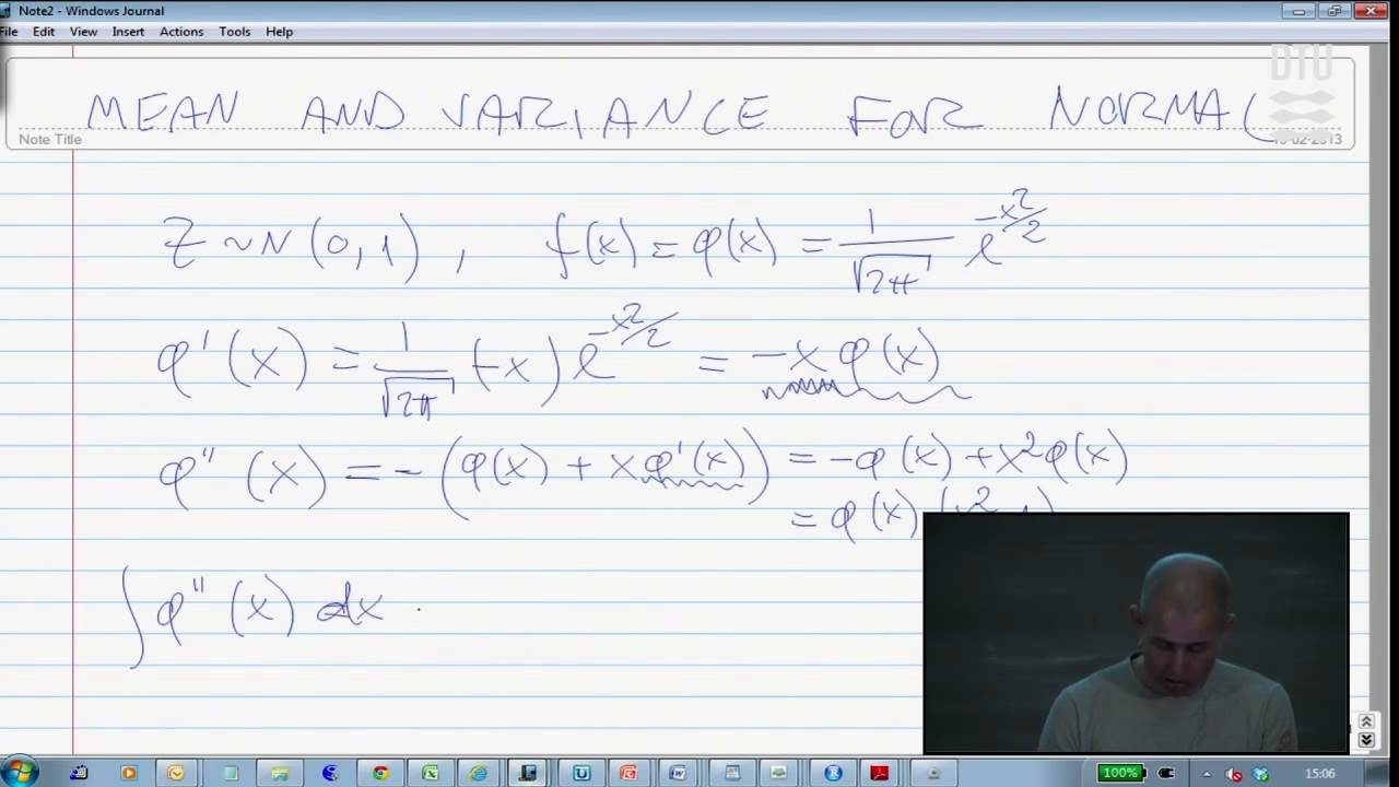 Extra Math Lecture 3: Mean and Variance for the normal distribution ...