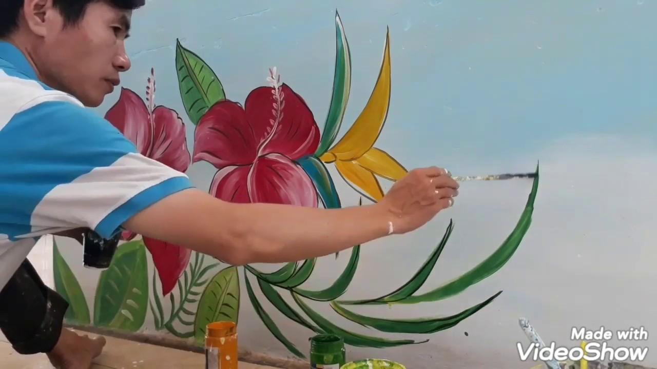 Tranh Tường Bầu Trời Thiên Nhiên tại Trường Tiểu Học Phước Lai/Tranh vẽ hoa lá nắng vàng cỏ xanh