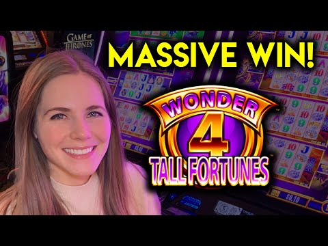 HUGE WIN! Awesome Hit!! Four Coin BONUS! Wonder 4 Tall Fortunes Slot Machine!!