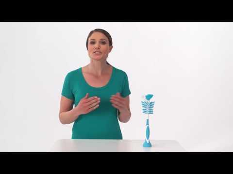 Щетка BornFree breeze™ 2-в-1 для мытья бутылочек и сосок бело-голубая. Видео №1