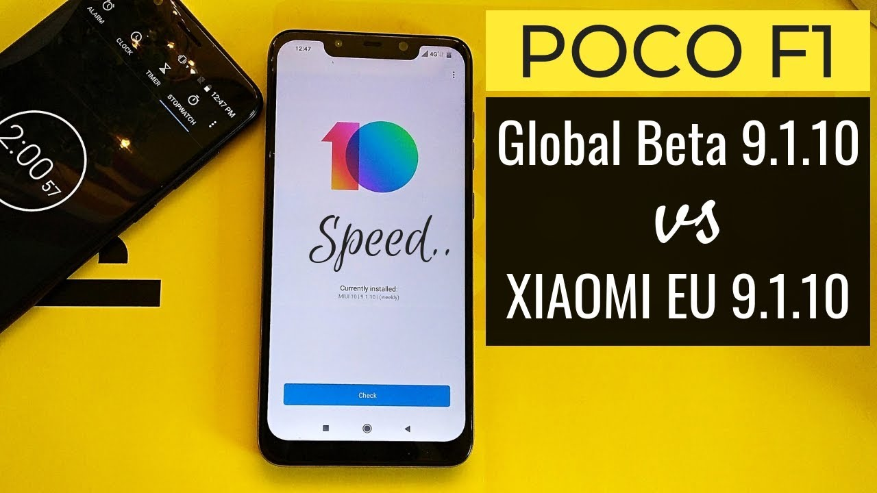 POCO F1: MIUI 10 Global Beta 9 1 10 vs Xiaomi EU 9 1 10 Beta | Speed Test