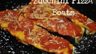 No Carb/High Protein Zuchinni Pizza Boats