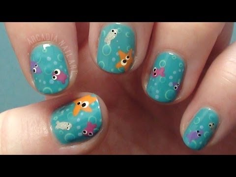 Cute Under The Sea Nail Art Tutorial *Collaboration* - YouTube