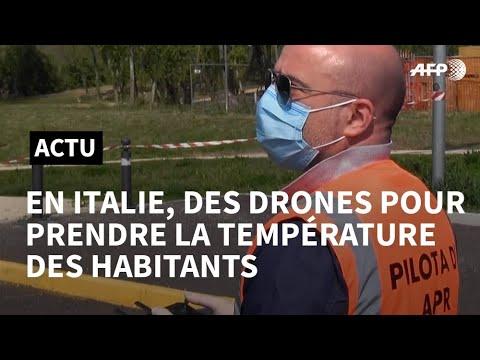 Coronavirus: en Italie, des drones vérifient la température des habitants de Treviolo | AFP