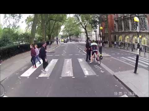 Angry Pedestrian Blocks Cyclist As He Races Through Zebra Crossing