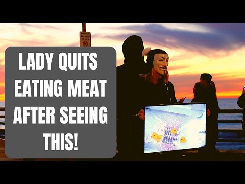 Lady Stops Eating Meat After Seeing Slaughterhouse Footage   Cube of Truth   San Diego, CA