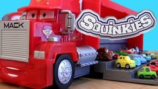 Mack Truck hauler SQUINKIES CARS 2 Store n Go Display 12-Cars Storage Disney Pixar ToysRus toys