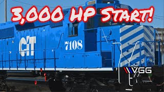3,000 HP Turbo V16 Locomotive Start Up And Tour