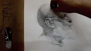 """Anton"" 80 minutes cross hatching drawing demo from Tan"