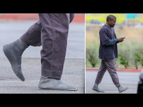 online store 47e66 0f3fb Kanye West Shows Off His New Yeezy Shoe Sock Prototype In Calabasas  EXCLUSIVE
