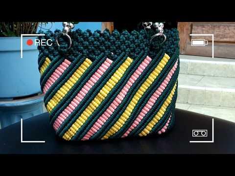 Kerajinan tangan DIY Membuat tas tali kur motif terbaru pelangi