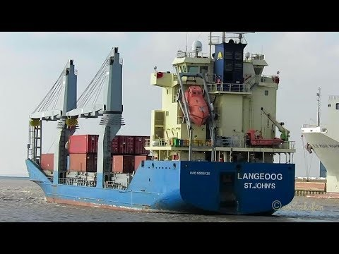 2 crane seaship LANGEOOG V2GK5 IMO 9506136 merchant vessel outbound Grand Emden Sealock
