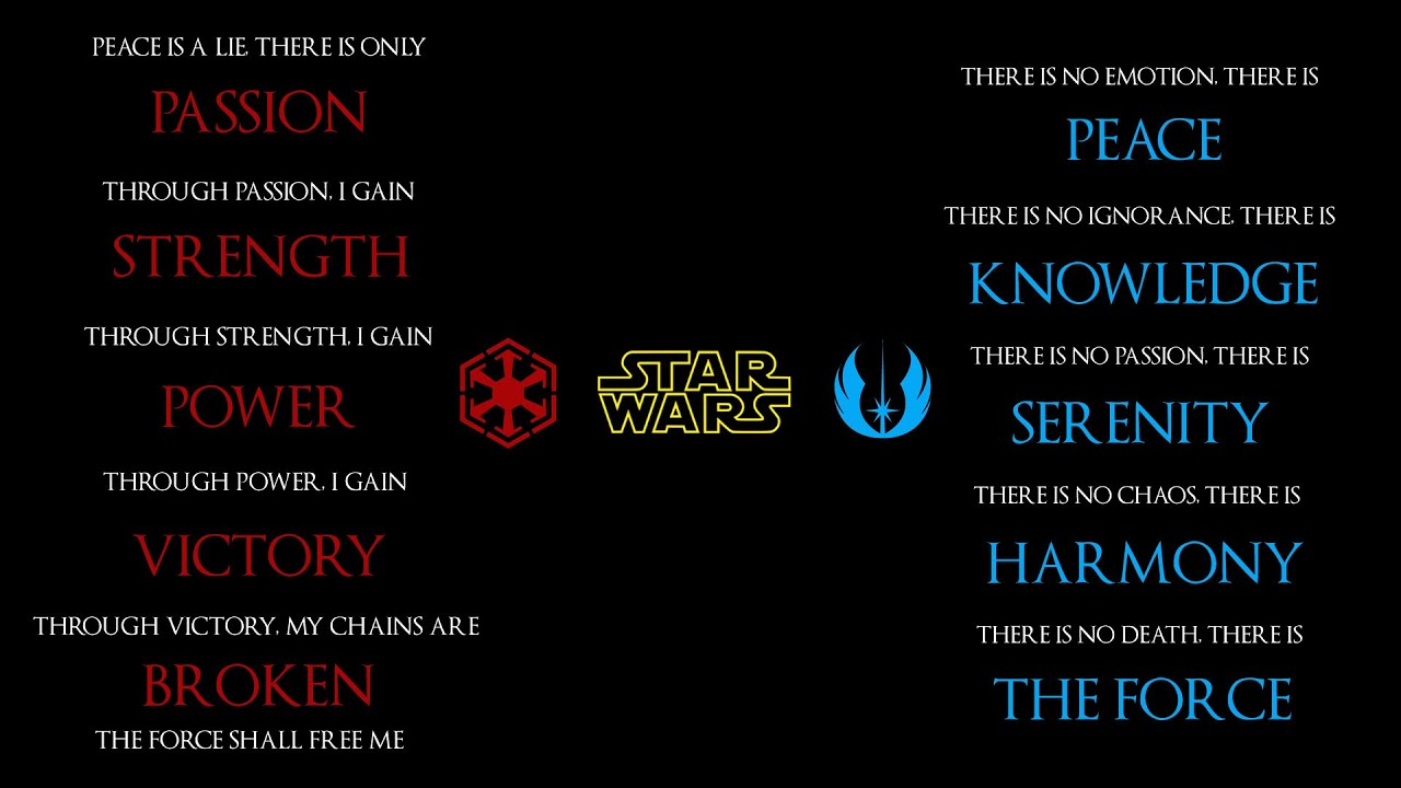 Star Wars: The Jedi Code vs The Sith Code - YouTube