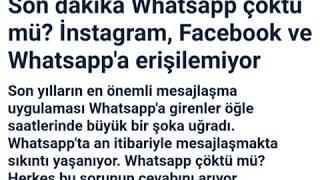 Instigram - whatsapp - facebook erişilemiyor! Uygulamalar çöktü mü? 2019