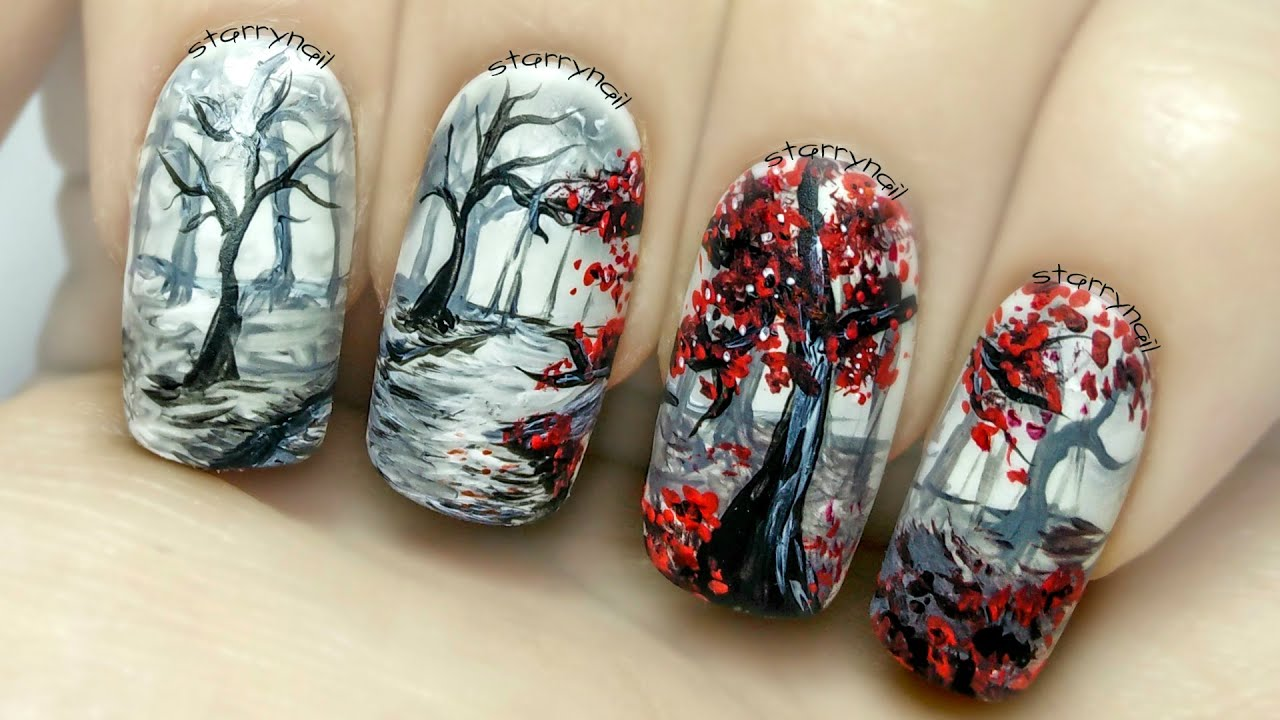 In the Forest ⎮ Freehand Nail Art Tutorial - YouTube