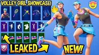 "*NEW* ""VOLLEY GIRL"" SKIN SHOWCASE WITH ALL LEAKED & BEST FORTNITE DANCE EMOTES..! (Tennis Skin)"