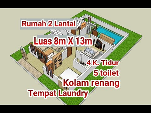 contoh denah rumah 2 lantai ukuran 8m x 13m - youtube