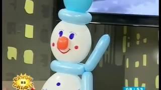 як зробити сніговика з повітряних кульок