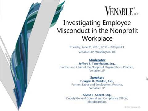 Investigating Employee Misconduct in the Nonprofit Workplace - June 21, 2016