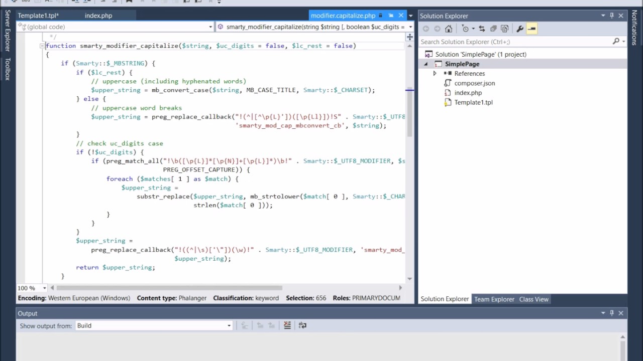 Smarty PHP Template Engine in Visual Studio