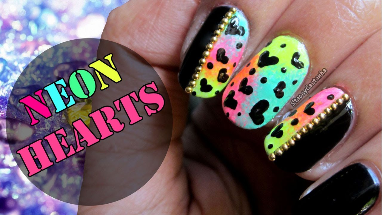 Easy & Cute Hearts Nail Art | Neon Nail Art Tutorial - YouTube