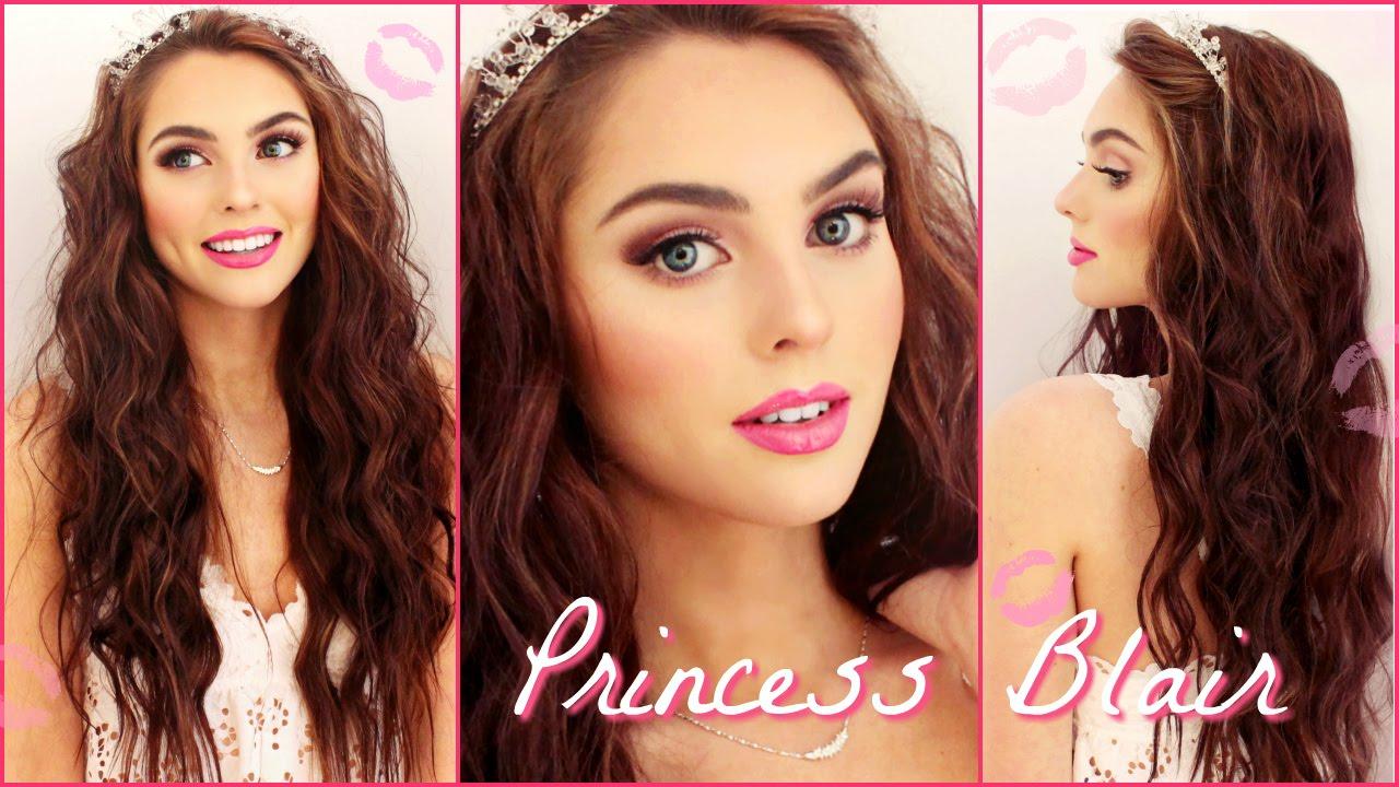 blair waldorf pink wedding makeup & wavy hair tutorial   gossip girl inspired