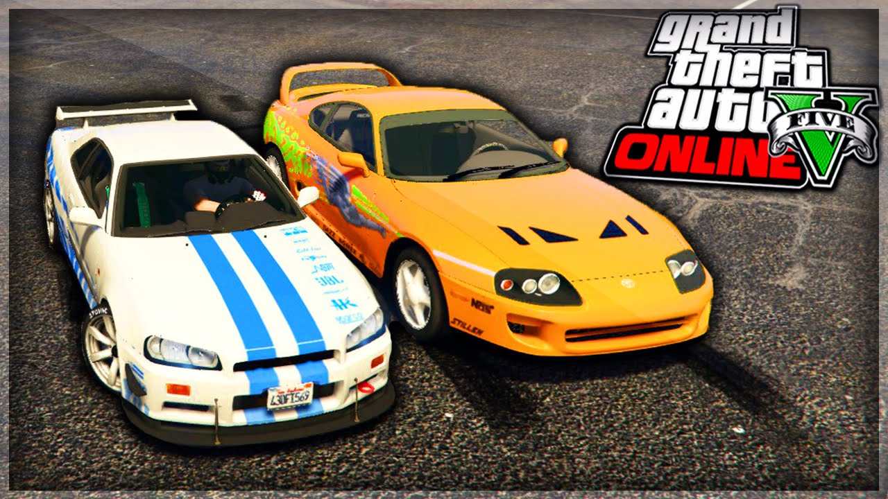 pr sentation des voitures de fast and furious sur gta 5 nissan skyline toyota supra youtube. Black Bedroom Furniture Sets. Home Design Ideas