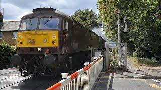 *Special* Beautiful 46233 'Duchess of Sutherland' Steam & Class 47 At Pooley Green Level Crossing