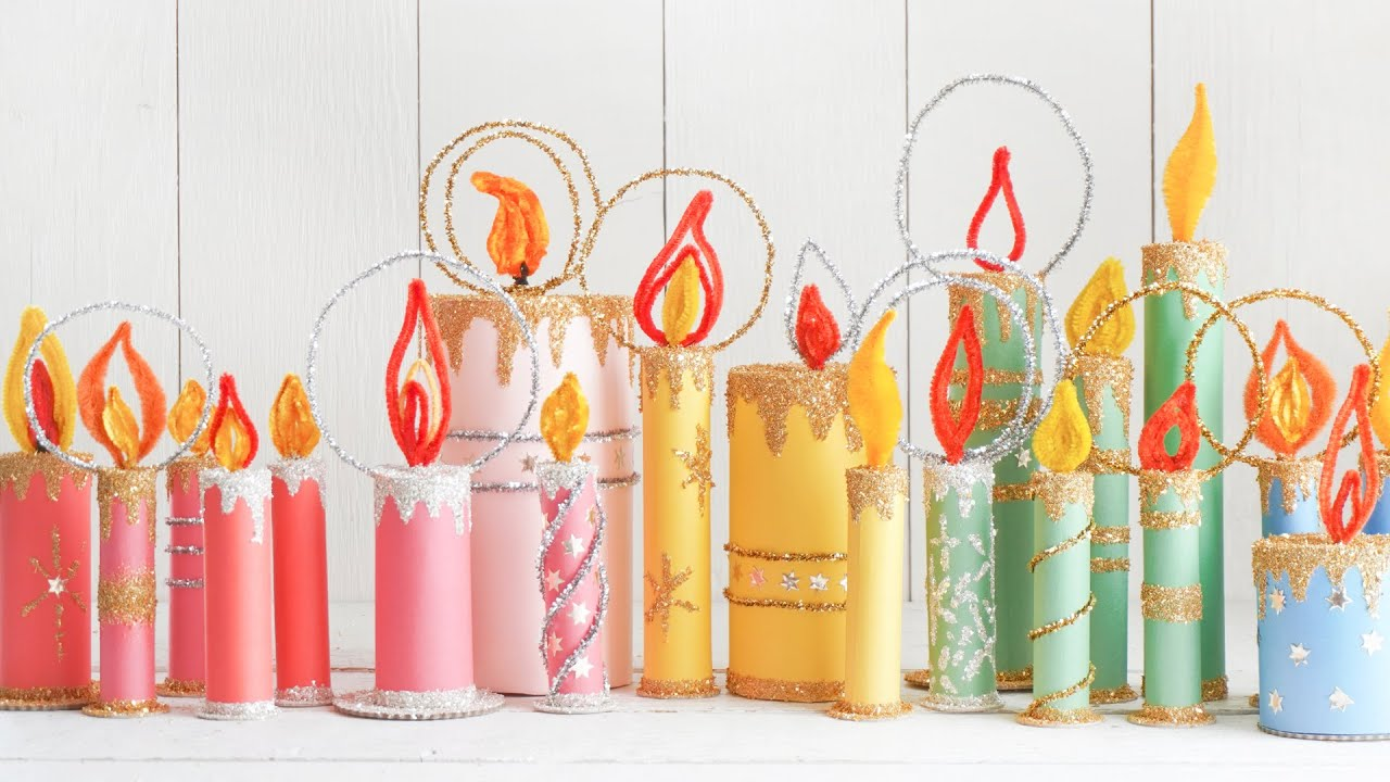 Retro Paper Christmas Candles made from Cardboard Tubes and Paper Rolls!