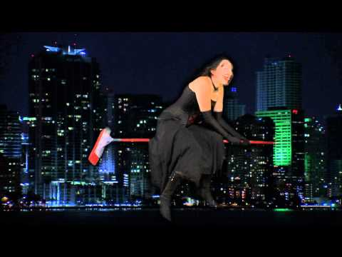 Witch Over Miami Skyline - Halloween